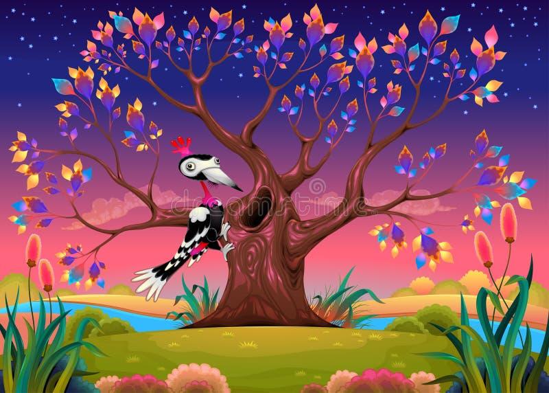 愉快的树在有啄木鸟的乡下 库存例证