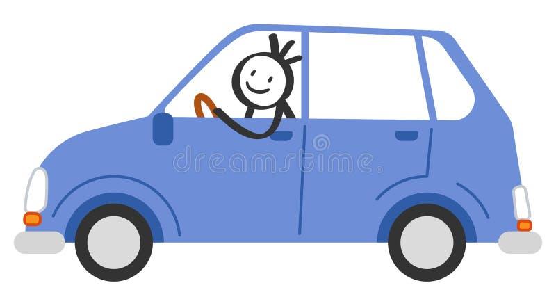 愉快的棍子形象微笑和驾驶蓝色汽车的人 向量例证