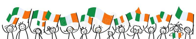 愉快的棍子欢呼的人群计算与爱尔兰国旗,微笑的爱尔兰支持者,体育迷 向量例证