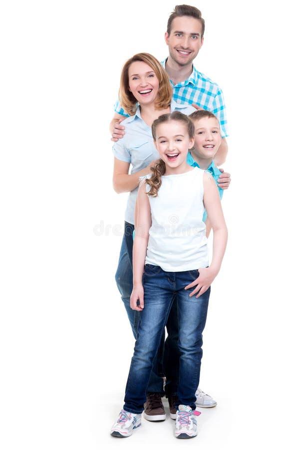 愉快的欧洲家庭的充分的画象有孩子的 免版税图库摄影