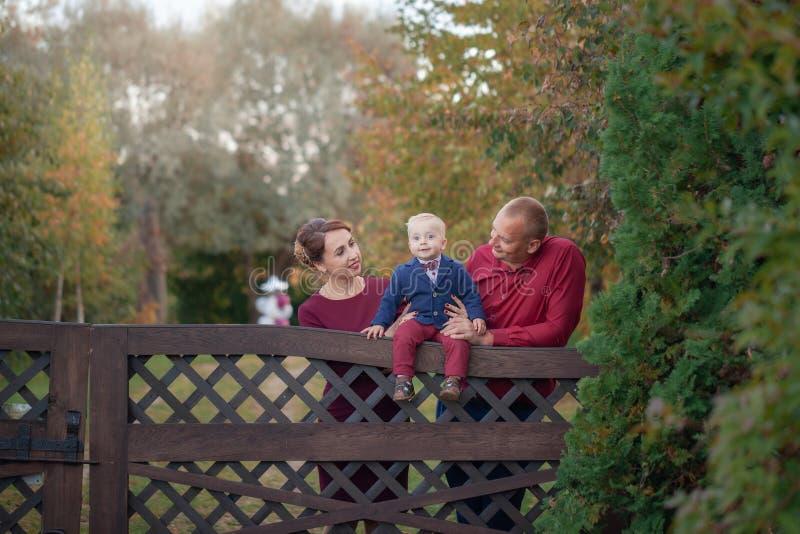 愉快的母亲、父亲和儿子在公园 幸福在家庭生活中在夏日 免版税库存照片