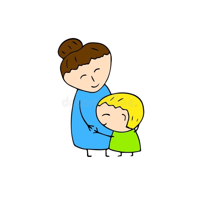 愉快的母亲和儿子拥抱 在白色背景的微笑的家庭手拉的传染媒介 妈妈和儿童手拉的象 库存例证