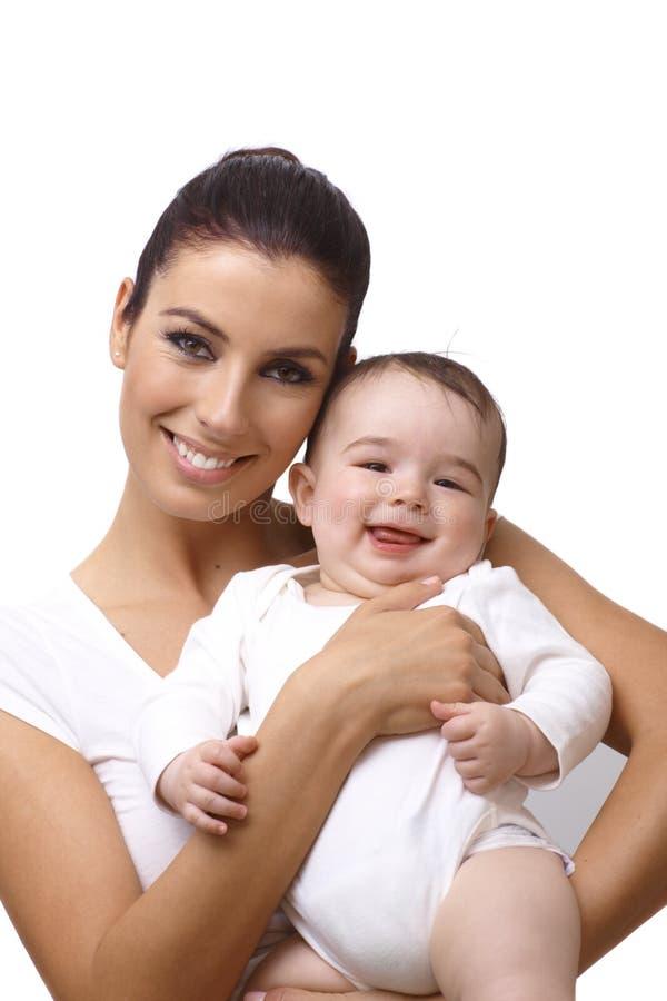 愉快的母亲和儿子特写镜头画象  库存图片