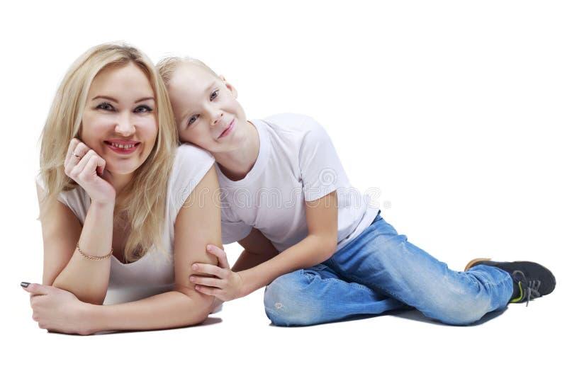 愉快的母亲和儿子 免版税图库摄影