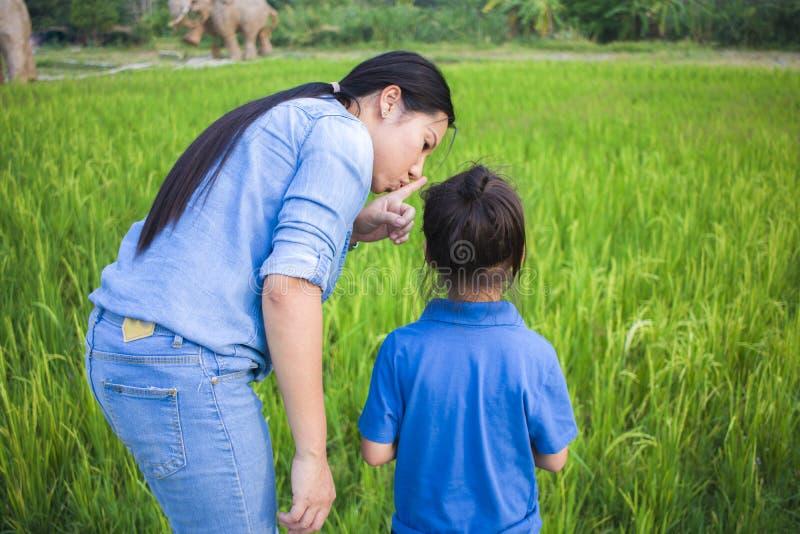 愉快的母亲和她的儿童游戏户外获得乐趣和指向某事在绿色米领域 免版税图库摄影