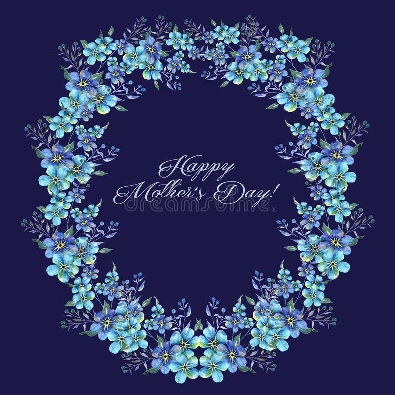 愉快的母亲节、水彩llustration与花勿忘草花圈和文本 库存例证