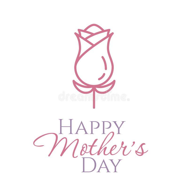 愉快的母亲节卡片或横幅与线桃红色玫瑰与在白色背景隔绝的叶子 库存例证