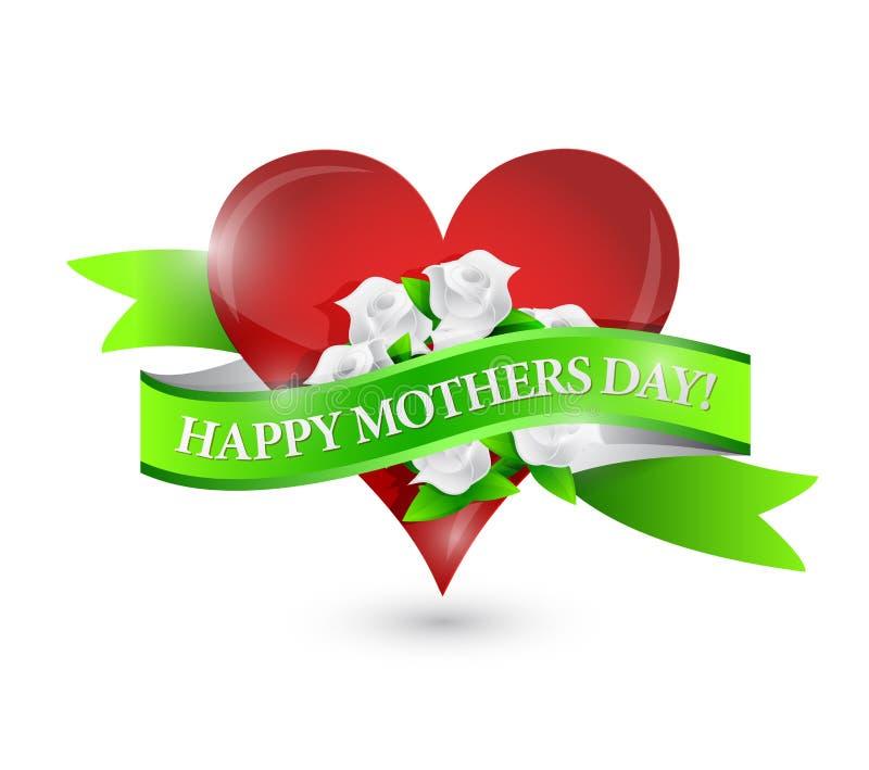 愉快的母亲节心脏和花丝带签字 皇族释放例证