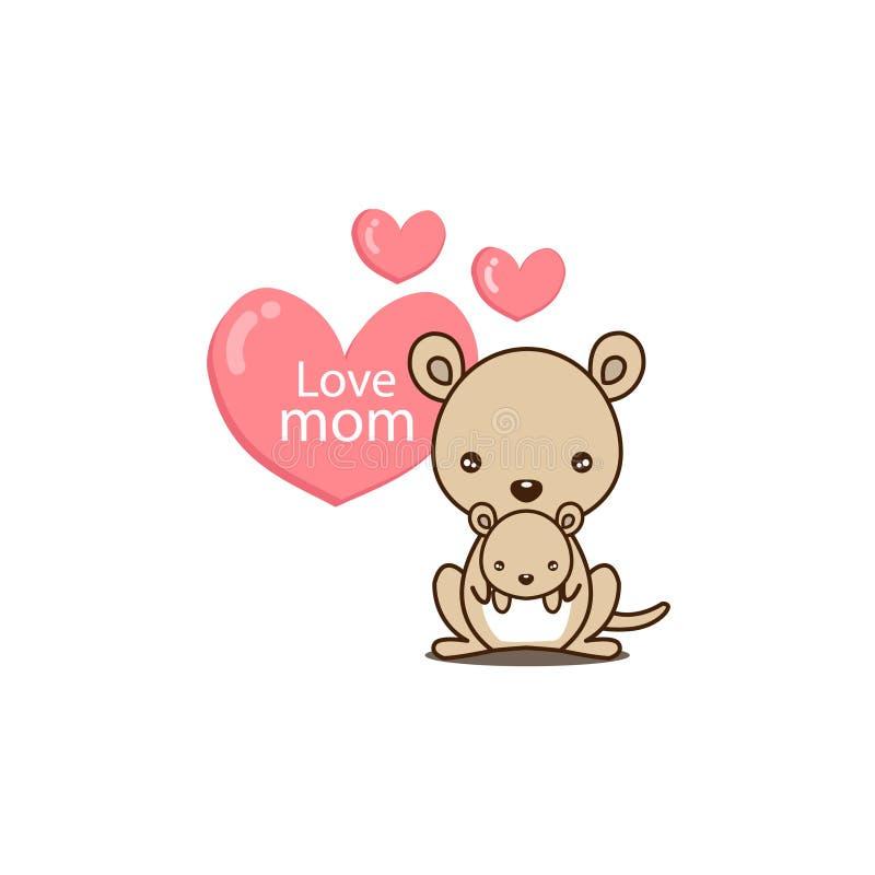 愉快的母亲节 与逗人喜爱的妈妈和小袋鼠的贺卡 在动画片样式的传染媒介例证 向量例证