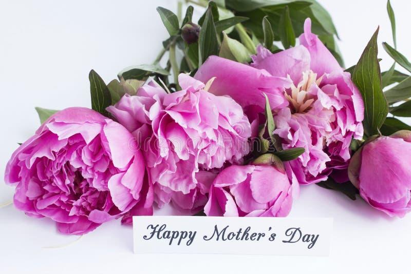 愉快的母亲` s天,贺卡,与桃红色牡丹 图库摄影
