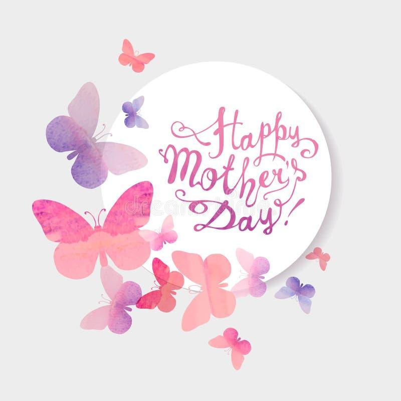 愉快的母亲` s天!桃红色水彩蝴蝶 皇族释放例证