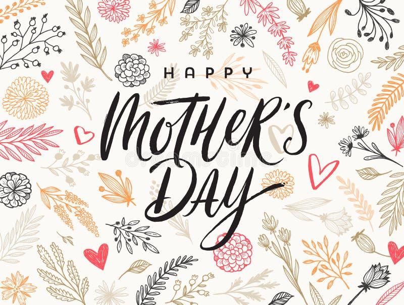 愉快的母亲` s天-贺卡 在花卉手拉的样式背景的刷子书法 向量例证
