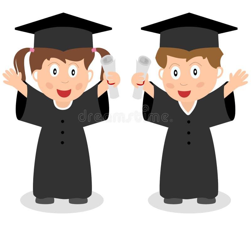 愉快的毕业的孩子 库存例证