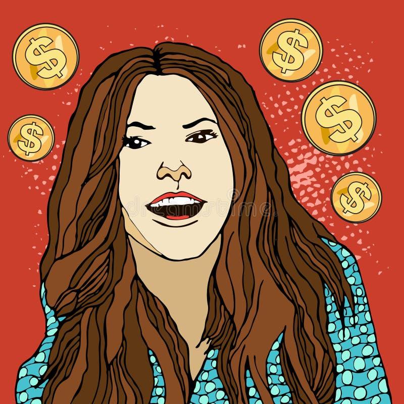 愉快的流行艺术面孔 美元财务女孩暂挂装箱乐趣成功 美元的硬币 女实业家 年轻人有开放嘴的惊奇的妇女 传染媒介illustrat 皇族释放例证