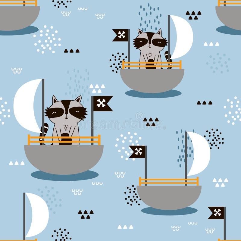 愉快的浣熊-海盗,小船,装饰逗人喜爱的背景 与动物的五颜六色的无缝的样式 库存例证