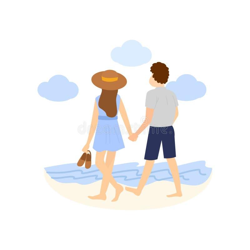 愉快的浪漫夫妇一起走在夏天海滩 库存例证