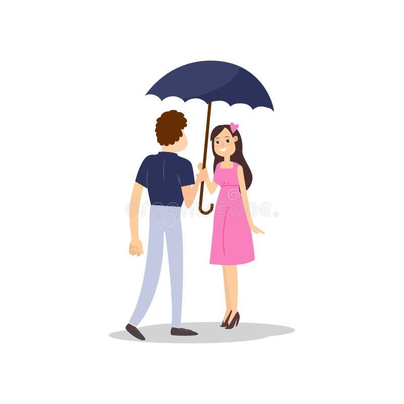 愉快的浪漫夫妇走与伞在雨下 向量例证