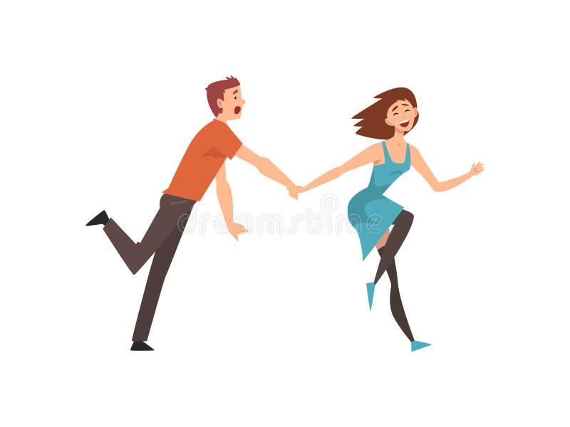 愉快的浪漫夫妇连续举行的手、年轻人和美女在日期,愉快的恋人字符导航 皇族释放例证