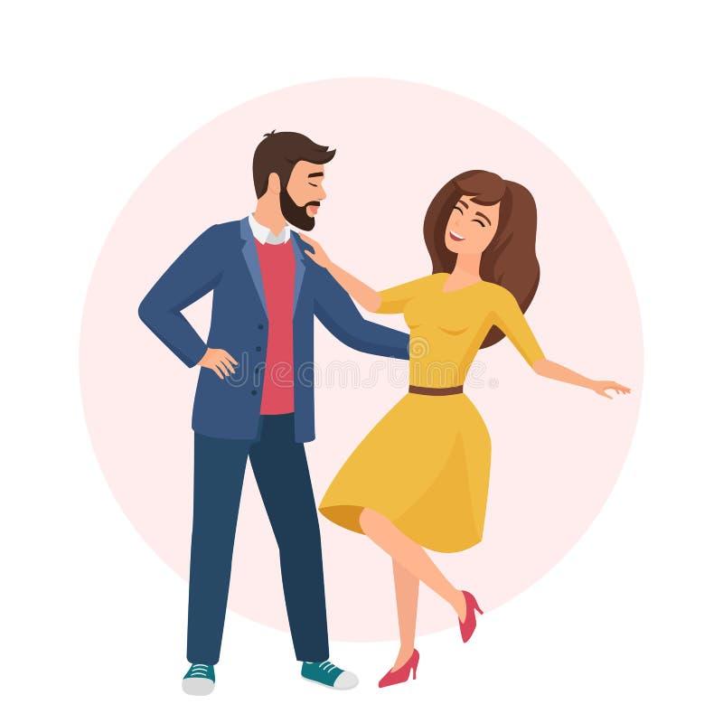 愉快的浪漫帅哥和俏丽的妇女 一起时间 结合在爱传染媒介例证的跳舞 库存例证