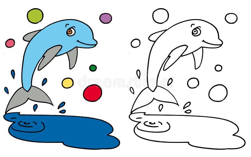 愉快的海豚跳的颜色和BW 库存例证