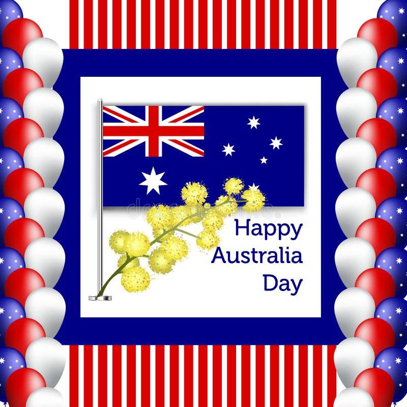 愉快的澳大利亚天海报 与花和金合欢叶子的欢乐花圈 向量例证