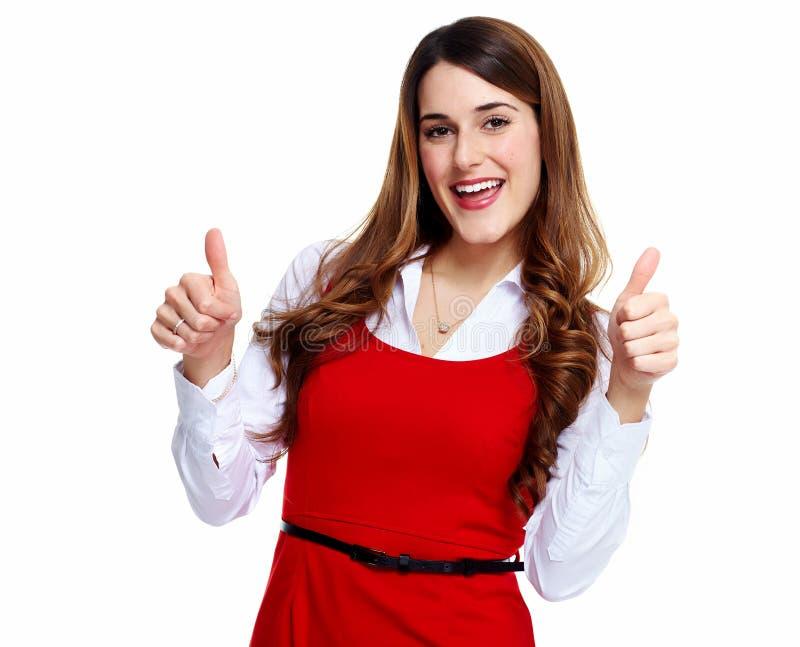 愉快的激动的女商人。 免版税库存图片