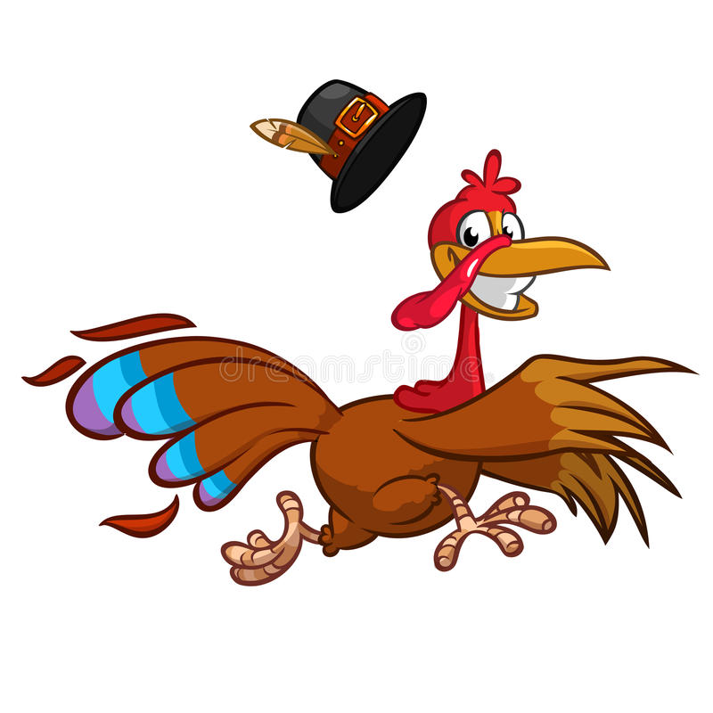 愉快的火鸡动画片赛跑 向量动画片 皇族释放例证