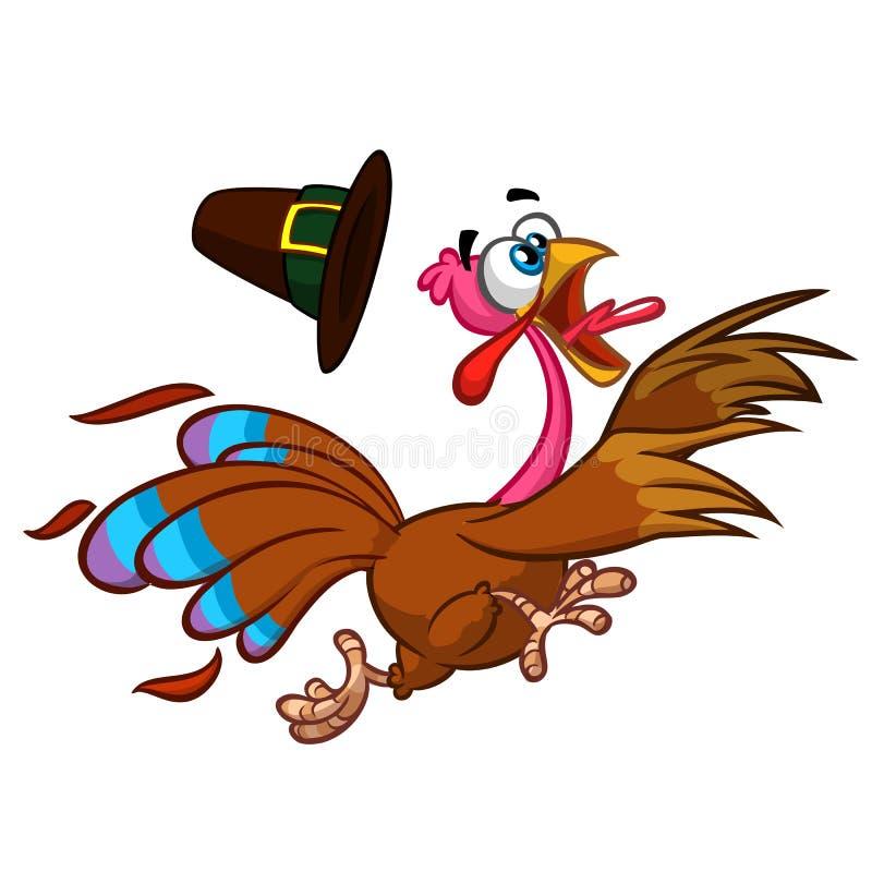 愉快的火鸡动画片赛跑 向量动画片 向量例证