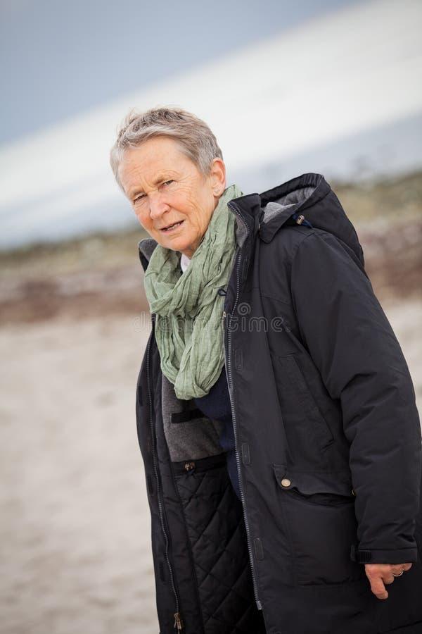 愉快的灰发的年长妇女资深室外 免版税库存照片