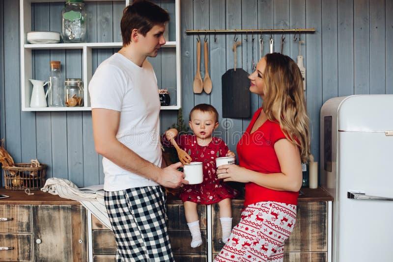 愉快的烹调与小女儿一起的家庭佩带的圣诞节睡衣 库存照片