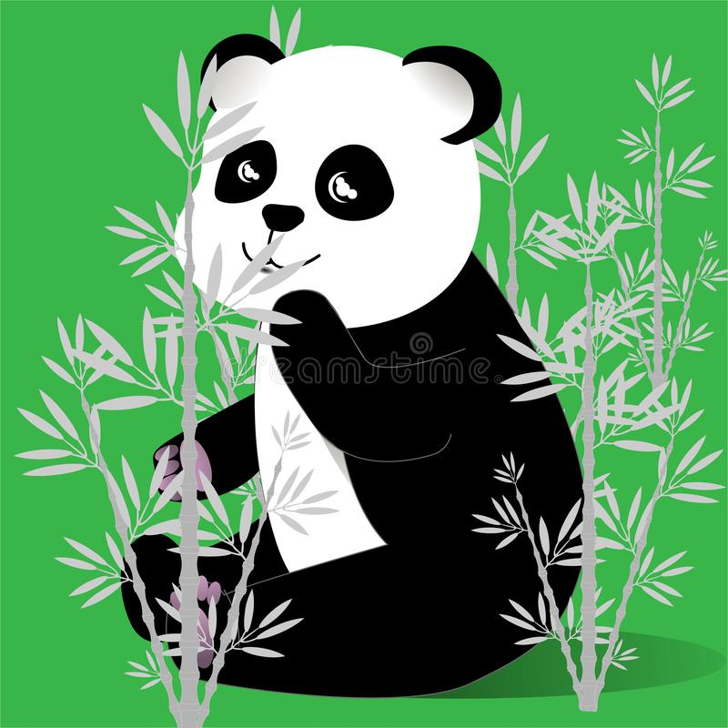 愉快的熊猫在一个竹树丛里传染媒介 库存例证