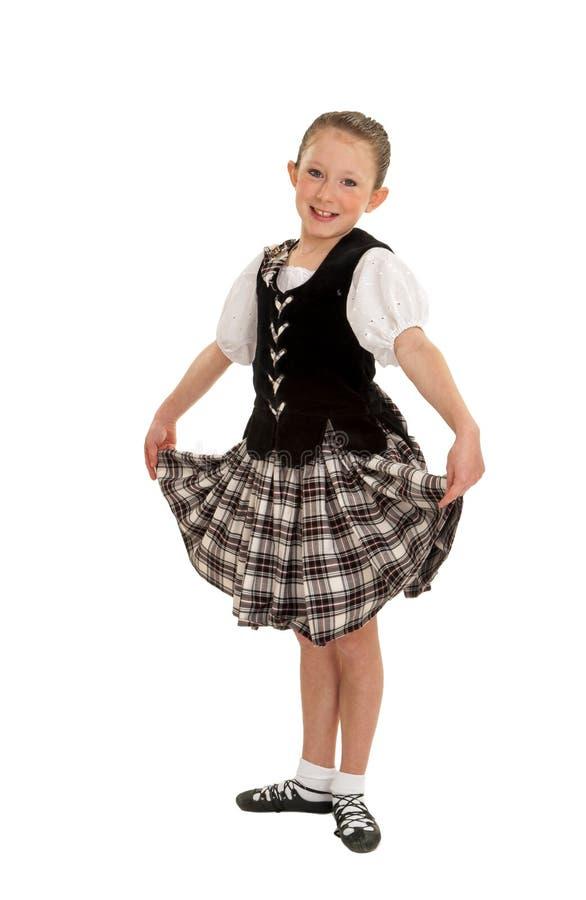 愉快的爱尔兰舞蹈家女孩 库存照片