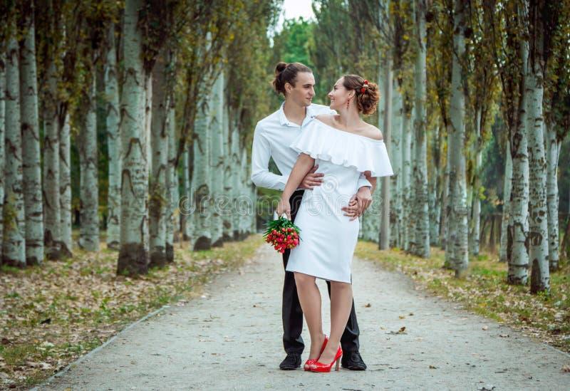 愉快的爱恋的婚礼夫妇在秋天停放 免版税库存图片