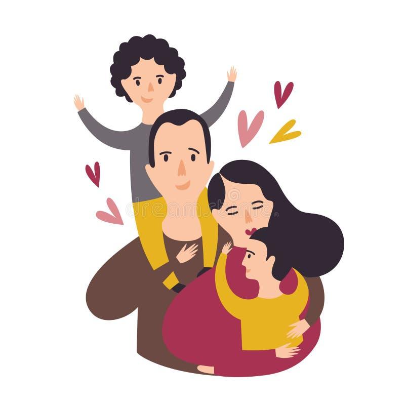 愉快的爱恋的家庭画象  微笑的爸爸、妈妈和两个儿子 快乐的父亲、母亲和对孩子 父母和 皇族释放例证