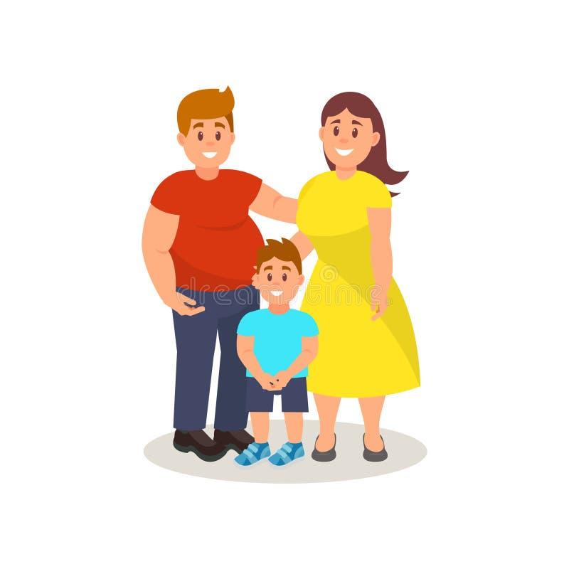愉快的父亲、一起站立在白色背景的母亲和儿子传染媒介例证 皇族释放例证