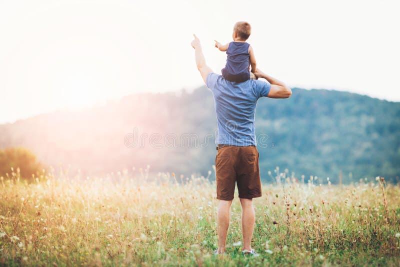 愉快的父亲和儿子步行的户外 免版税库存图片