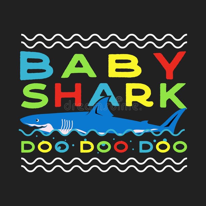 愉快的父亲或母亲节印刷术印刷品-婴孩鲨鱼与微笑的鲨鱼的Doo Doo行情 减速火箭的样式说法 皇族释放例证