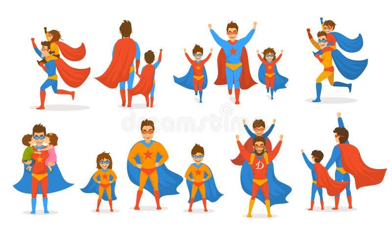 愉快的父亲节概念隔绝了传染媒介例证演奏超级英雄的场面被设置的,爸爸和孩子、男孩和女孩,打扮在一口 向量例证