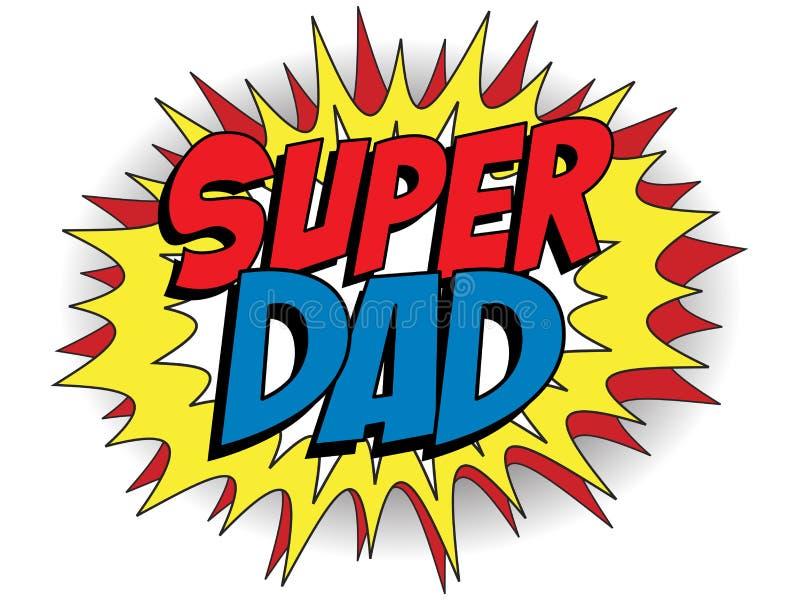 愉快的父亲节特级英雄爸爸 向量例证