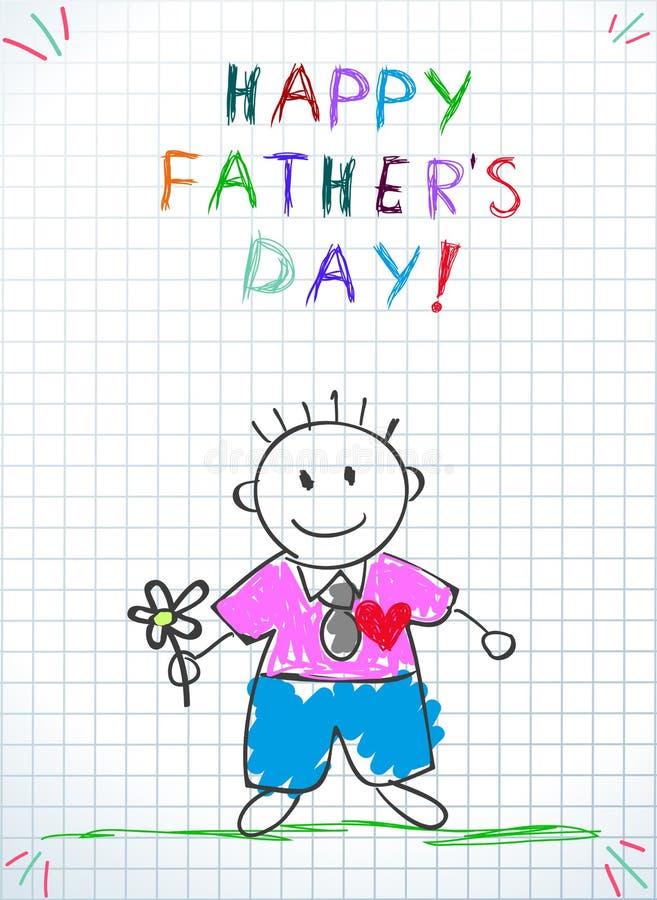 愉快的父亲节贺卡 婴孩图画 向量例证