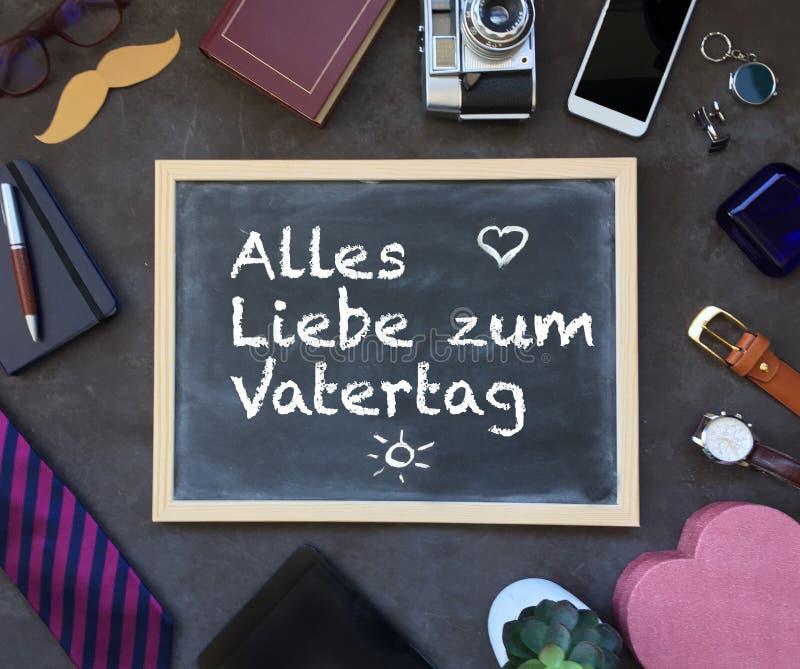 愉快的父亲` s天文本用德语 父亲节构成 免版税库存图片