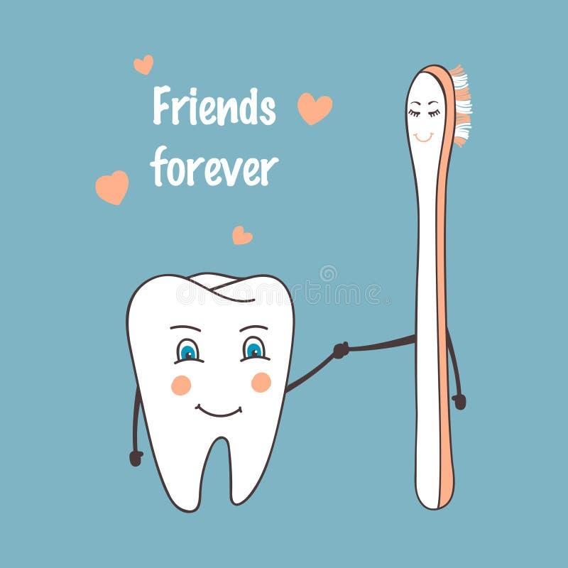 愉快的牙和牙刷漫画人物 停止龋 口头健康,医疗题材 手拉的向量例证 向量例证