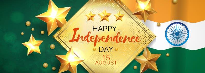 愉快的独立日印度,传染媒介例证,飞行物设计8月15日 向量例证