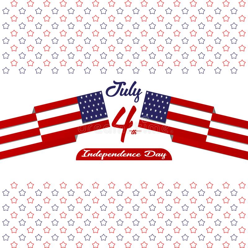 愉快的独立日美利坚合众国,第4与星的7月卡片,下垂平的设计 皇族释放例证