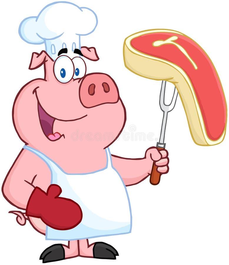 愉快的猪主厨 库存例证
