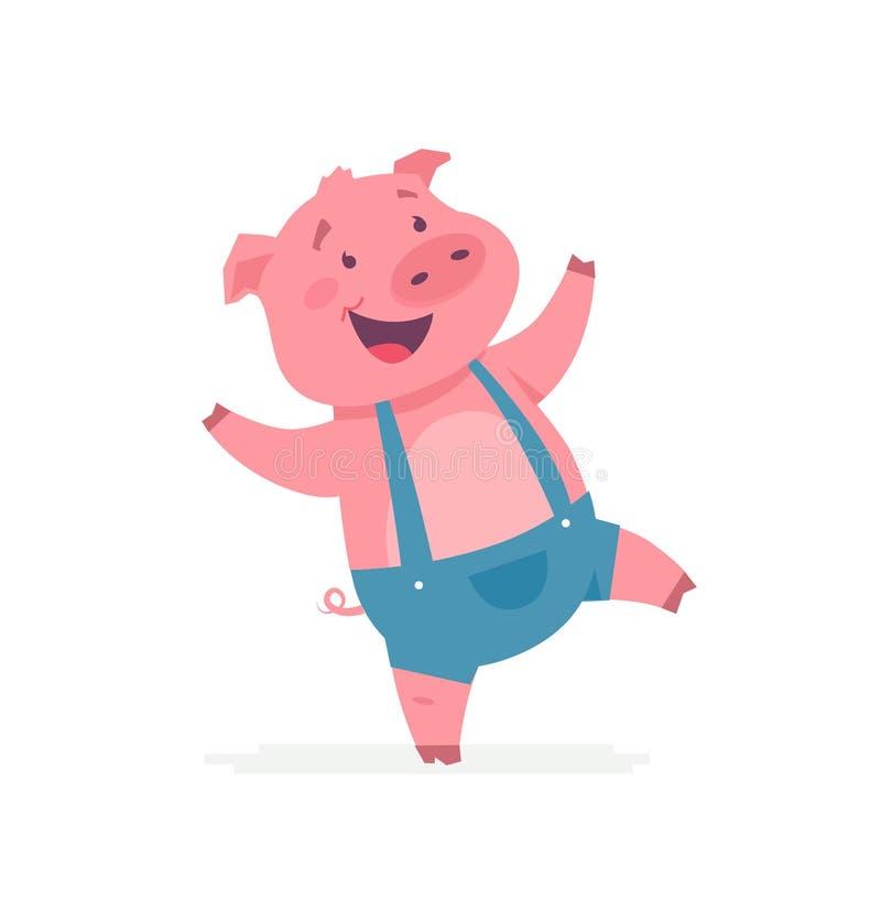 愉快的猪-现代传染媒介漫画人物例证 向量例证