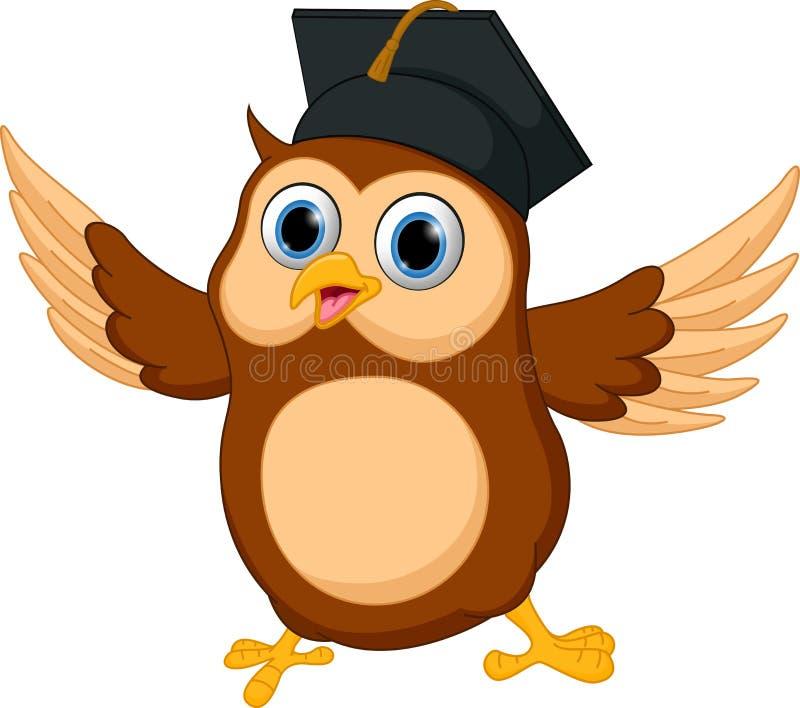 愉快的猫头鹰动画片佩带的毕业盖帽 库存例证
