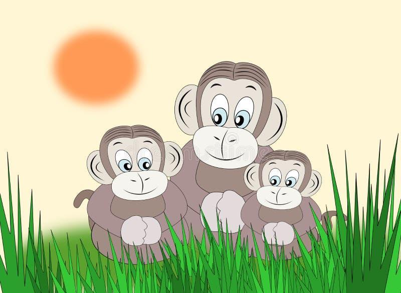 愉快的猴子家庭 向量例证