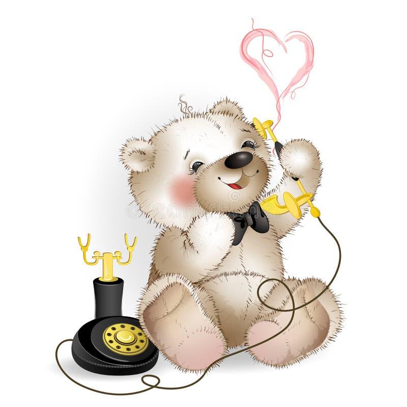 愉快的玩具熊谈话在电话 向量例证
