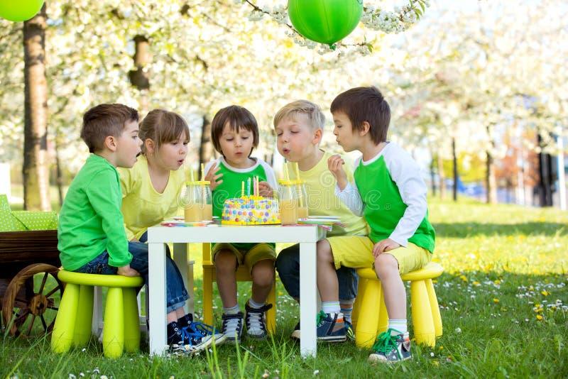 愉快的甜学龄前孩子,庆祝第五个生日古芝 免版税图库摄影